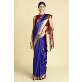 Craftsvilla Blue Color Silk Blend Zari Work Designer Saree With Blouse Piece