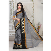 Craftsvilla Grey Color Cotton Thread Work Designer Saree With Blouse Piece