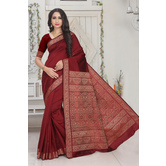 Craftsvilla Maroon Color Silk Blend Jacquard Designer Saree With Blouse Piece