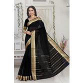 Craftsvilla Black Color Kota Cotton Zari Work Designer Saree With Blouse Piece
