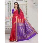 Craftsvilla Red Color Silk Blend Zari Work Designer Saree With Blouse Piece