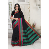 Craftsvilla Black Color Silk Blend Striped Designer Saree With Blouse Piece