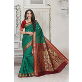 Craftsvilla Green Color Silk Blend Zari Border Designer Saree With Blouse Piece