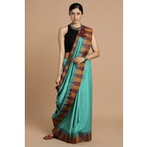 Craftsvilla Teal Blue And Maroon Color Temple Design Silk Blend Traditional Saree