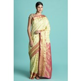 Craftsvilla Beige Color Silk Blend Zari Work Designer Saree With Blouse Piece