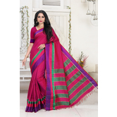Craftsvilla Maroon Color Silk Blend Striped Designer Saree With Blouse Piece