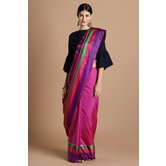 Craftsvilla Pink Color Silk Blend Striped Designer Saree With Blouse Piece