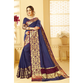 Craftsvilla Blue Color Banglori Silk Saree With Floral Zari Border Work And Unstitched Blouse Material