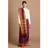 Craftsvilla Purple Color Cotton Saree With Double Zari Border Work And Unstitched Blouse Material