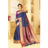 Craftsvilla Blue Color Traditional Peshwai Silk Saree With Butta Work And Unstitched Blouse Material