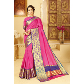 Craftsvilla Pink Color Banglori Silk Saree With Floral Zari Border Work And Unstitched Blouse Material