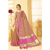 Craftsvilla Brown Color Kotta Cotton Saree With Thread Border Work And Unstitched Blouse Material