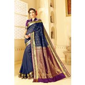 Craftsvilla Blue Color Silk Saree With Butta Work And Unstitched Blouse Material