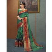 Craftsvilla Green Color Traditional Zari Border Silk Saree And Unstitched Blouse Material.