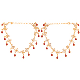 Craftsvilla Red Color Bead Work Kundan Look Gold Plated Alloy Metal Anklet