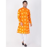 Craftsvilla Orange Color Cotton Solid Full Sleeves Kurta And Pyjama Set