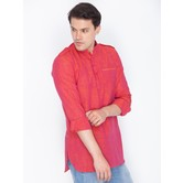 Craftsvilla Crimson Red Color Linen Long Sleeves Kurtas