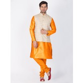 Craftsvilla Orange Color Cotton Silk Plain Kurta-pyjamas