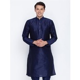 Craftsvilla Navy Blue Color Cotton Silk Long Sleeves Kurtas