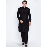 Craftsvilla Black Color Linen Long Sleeves Kurta-pyjamas