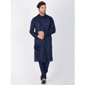 Craftsvilla Navy Blue Color Cotton Solid Full Sleeves Kurta And Pyjama Set
