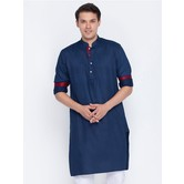 Craftsvilla Navy Blue Color Cotton Long Sleeves Kurtas