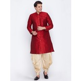 Craftsvilla Maroon Color Silk Blend Long Sleeves Kurta-pyjamas