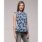 Miraasa Dabu Printed Floral Peplum Top In Cotton