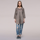 Miraasa Brown Pleated Dabu-printed Cotton Tunic