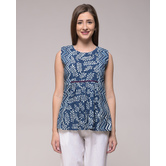 Miraasa Dabu Leaf Print Pleated Top In Cotton