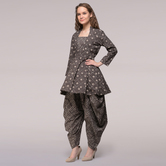 Miraasa Brown Pleated Dabu-printed Cotton Tunic With Dhoti Pants (set Of 2)