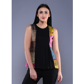 Miraasa Black Kantha Patch Pleated Top In Silk Cotton