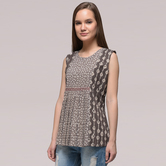 Miraasa Brown Pleated Dabu-printed Cotton Top