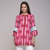 Miraasa Fushia Clamp Dyed Pleated Cotton Tunic