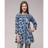 Miraasa Dabu Printed Pleated Top In Cotton