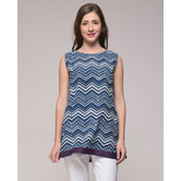 Miraasa Dabu Indigo Printed Chevron Top In Cotton