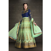 Craftsvilla Blue And Green Color Bangalore Silk Embroidered Semi-stitched Circular Traditional Anarkali Suit