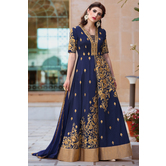 Craftsvilla Blue Color Bangalore Silk Embroidered Semi-stitched Circular Traditional Anarkali Suit
