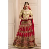Craftsvilla Red Color Bangalore Silk Aari Embroidered Traditional Semi-stitched Lehenga Choli