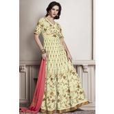 Craftsvilla Yellow Color Bangalore Silk Embroidered Semi-stitched Circular Traditional Anarkali Suit