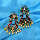 Craftsvilla Yellow Gold Finish Brass Traditional Pearls Jhumka Earrings
