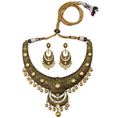 Craftsvilla Traditional Antique Kundan Gold Plated Brass Hasli Necklace Set For Woman