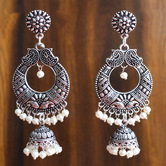 Craftsvilla Oxidized Silver Finish Brass Traditional Pearls Dangler Earrings