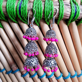 Craftsvilla Oxidized Silver Finish Brass Traditional Pearls Jhumka Earrings