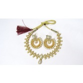 Craftsvilla Gold Plated Alloy Metal Glass Stone Traditional Hand Crafted Necklace Set