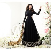 Sutva Black Color Georgette Embroidered Designer Gown