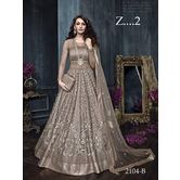 Sutva Silver Color Net Embroidered Circular Gown