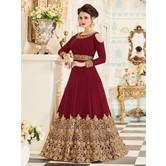 Sutva Red Color Georgette Embroidered Circular Gown