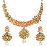 Craftsvilla Gold Plated American Diamond And Pearls Floral Designer Choker Necklace Set