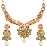 Craftsvilla Gold Plated American Diamond And Pearls Round Shape Choker Necklace Set